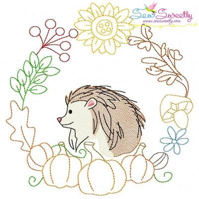 Fall Animal Frame- Hedgehog Sketch Embroidery Design