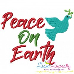 Peace on Earth Lettering Embroidery Design