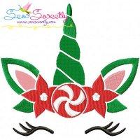 Christmas Unicorn Face Embroidery Design