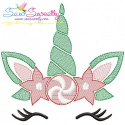 Christmas Unicorn Face Sketch Embroidery Design