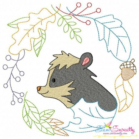 Fall Animal Frame- Skunk Embroidery Design Pattern- Category- Fall And Thanksgiving- 1