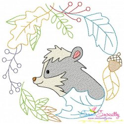 Fall Animal Frame- Skunk Sketch Embroidery Design