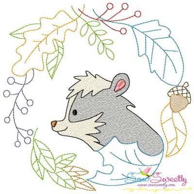 Fall Animal Frame- Skunk Sketch Embroidery Design