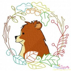 Fall Animal Frame- Bear Embroidery Design