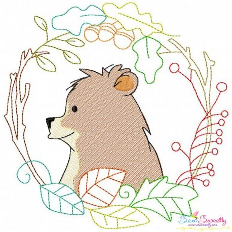 Fall Animal Frame- Bear Sketch Embroidery Design Pattern- Category- Fall And Thanksgiving- 1