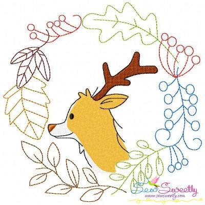 Fall Animal Frame- Deer Embroidery Design