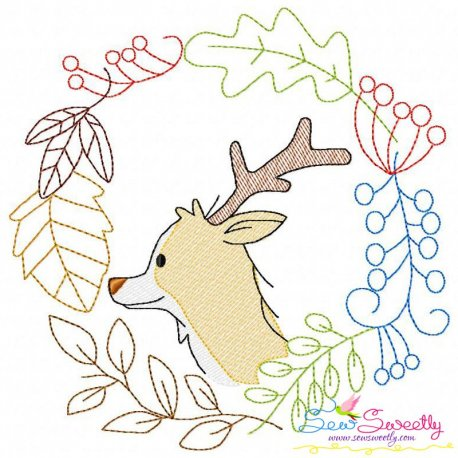 Fall Animal Frame- Deer Sketch Machine Embroidery Design For Fall