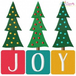 Joy Christmas Trees Lettering Embroidery Design