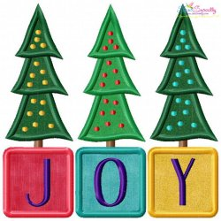 Joy Christmas Trees Lettering Applique Design