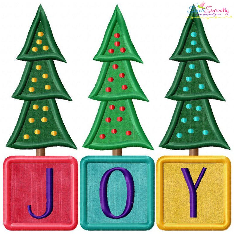 Joy Christmas Trees Lettering Embroidery Applique Design For Christmas