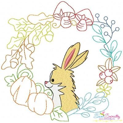 Fall Animal Frame- Bunny Embroidery Design