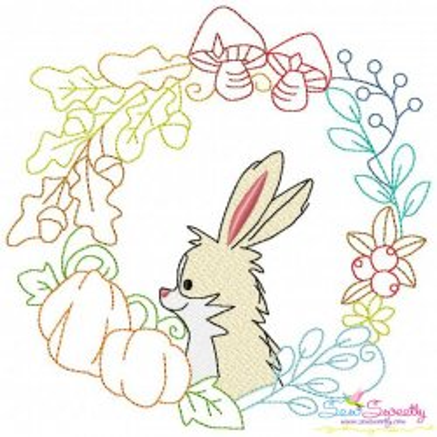 Fall Animal Frame- Bunny Sketch Embroidery Design