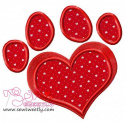 Red Love Paw Print Applique Design