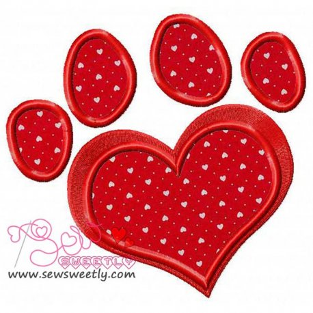 Red Love Paw Print Applique Design