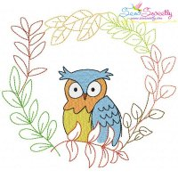 Fall Animal Frame- Owl Embroidery Design