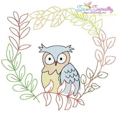 Fall Animal Frame- Owl Sketch Embroidery Design
