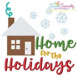 Home For The Holidays Lettering Embroidery Design