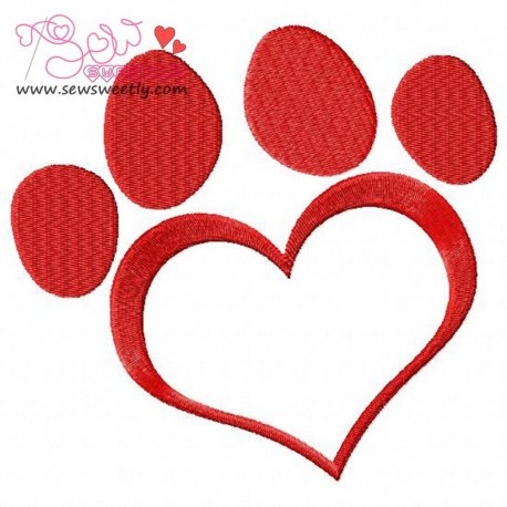 Red Love Paw Print Embroidery Design