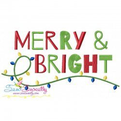 Merry and Bright Lettering Embroidery Design