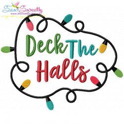 Deck The Halls Lettering Embroidery Design