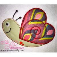 Valentine Snail Applique Design