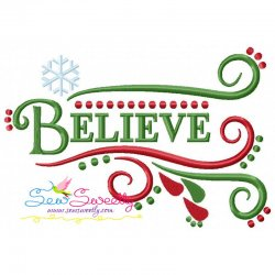 Believe Lettering Embroidery Design