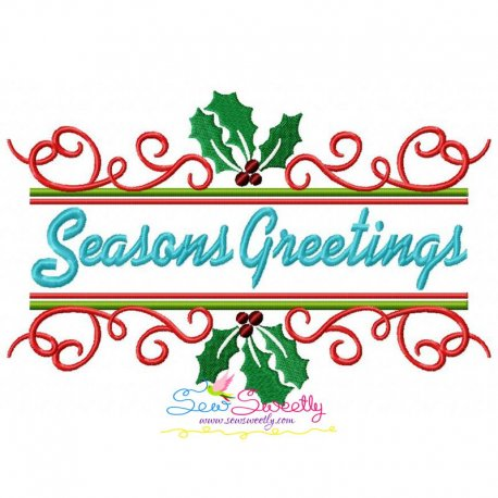 Seasons Greetings Lettering Embroidery Design