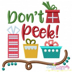 Don't Peek Lettering Embroidery Design