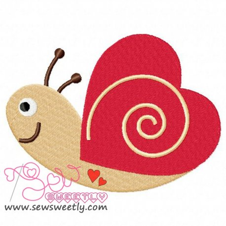 Valentine Snail Embroidery Design