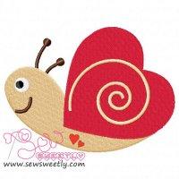 Valentine Snail Embroidery Design