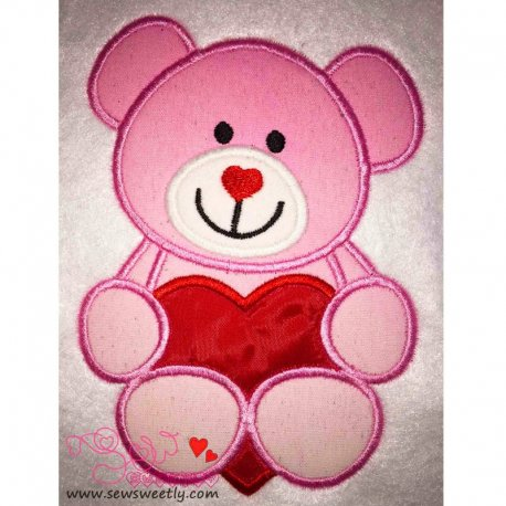 Valentine Teddy Bear Applique Design
