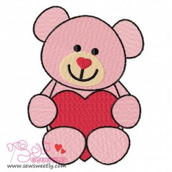 Valentine Teddy Bear Embroidery Design