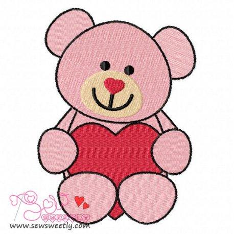 Valentine Teddy Bear Embroidery Design