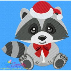 Christmas Baby Animal- Raccoon Embroidery Design
