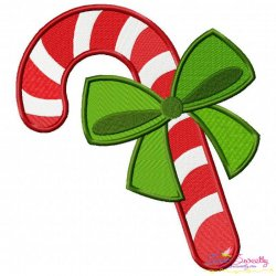 Candy Cane Ribbon Embroidery Design