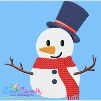 Christmas Snowman Blue Hat Embroidery Design