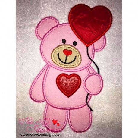 Valentine Teddy Bear 5 Applique Design