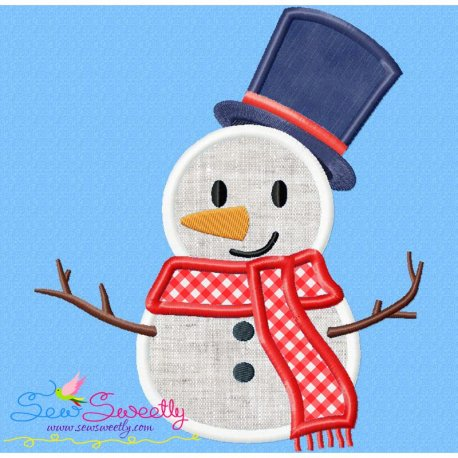 Christmas Snowman Blue Hat Applique Design