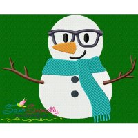 Christmas Snowman Glasses Embroidery Design