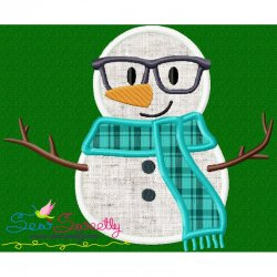Christmas Snowman Glasses Applique Design