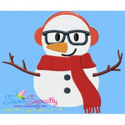 Christmas Snowman Glasses-2 Embroidery Design