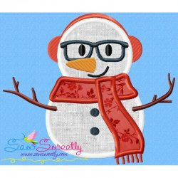 Christmas Snowman Glasses-2 Applique Design