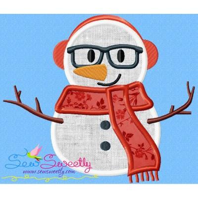 Christmas Snowman Glasses-2 Applique Design
