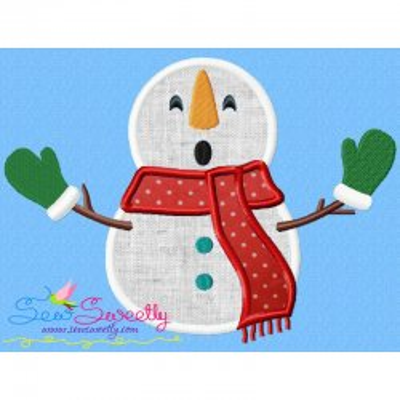 Christmas Snowman Gloves Applique Design