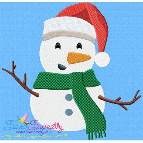 Christmas Snowman Santa Hat Embroidery Design