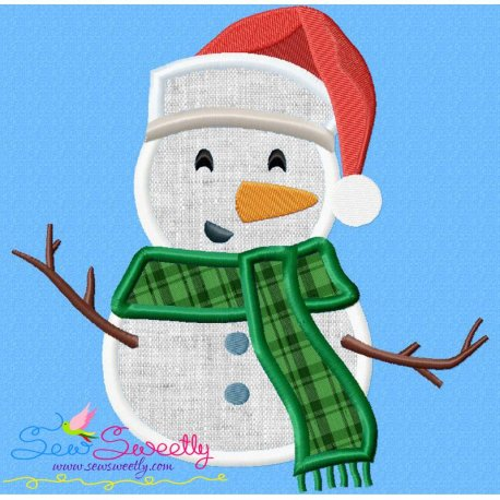 Christmas Snowman Santa Hat Applique Design
