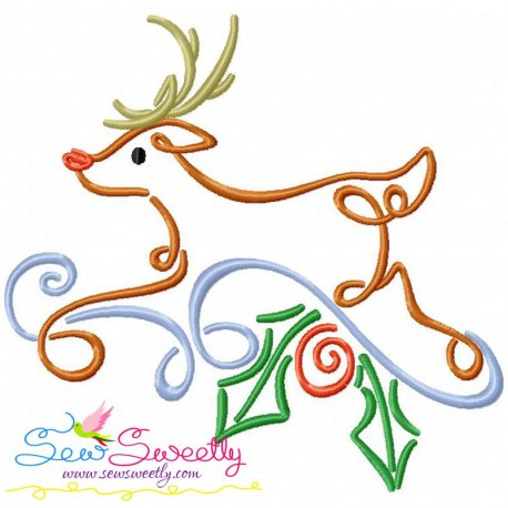 Christmas Swirls- Deer Embroidery Design