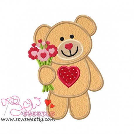 Valentine Teddy Bear 6 Applique Design