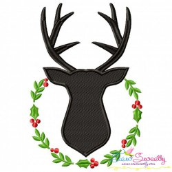 Deer Silhouette Wreath Embroidery Design