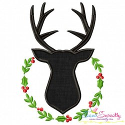 Deer Silhouette Wreath Applique Design